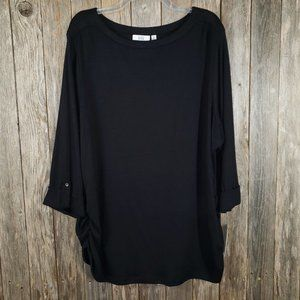 NEW Croft & Barrow Black Ruched Top Blouse Size 3X